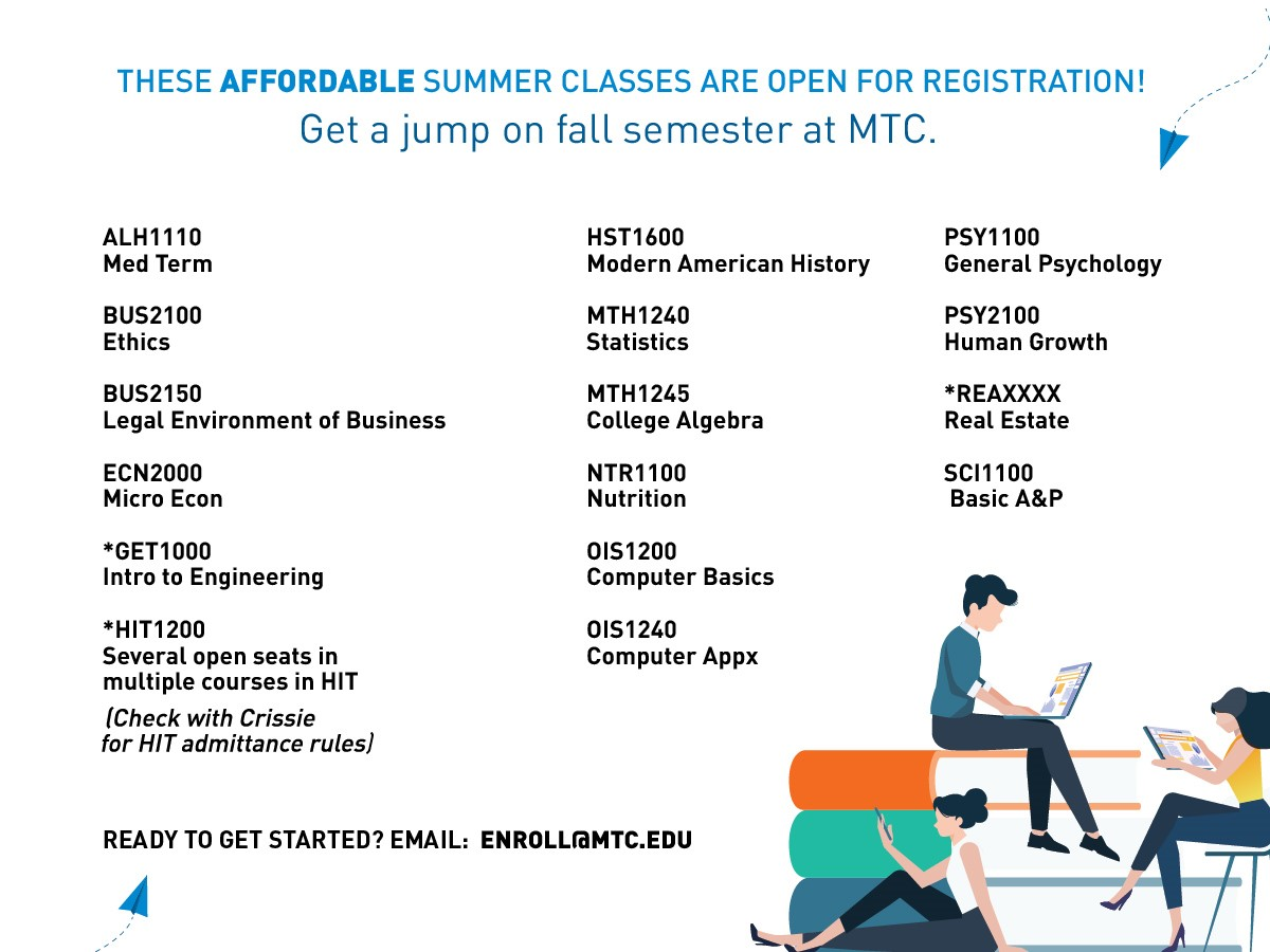 A list of online summer classes with open seats